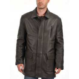 Soft Lambskin Mens Leather Car Coat