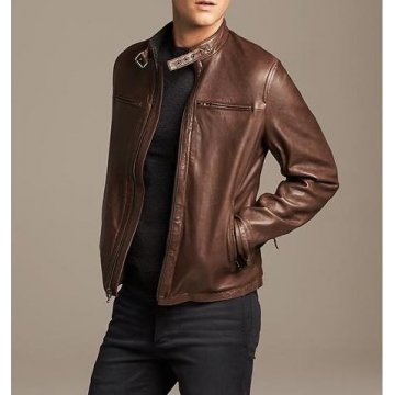 Stylish Mens Brown Leather Moto Jacket
