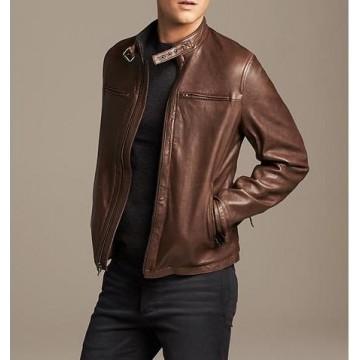 Stylish Mens Brown Leather Moto Jacket