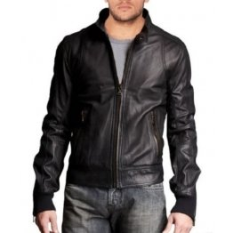 Stylish Mens Leather Bomber with Stand Collar