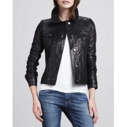 Stylish Moto Black Leather Jacket For Women