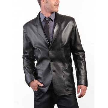 Three Button Blazer Style Black Leather Coat for Men