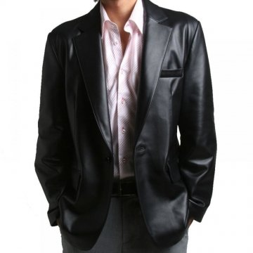 Two Button Closure Soft Lambskin Black Leather Blazer Jacket for Men