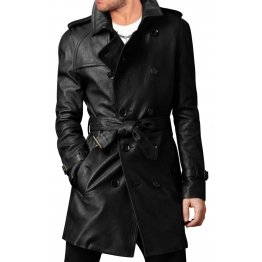 Vintage Style Long Black Leather Coat Mens