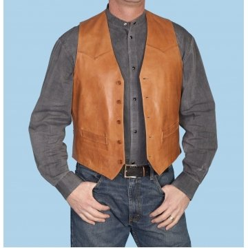 Vintage Style Mens Tan Brown Leather Vest