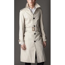 Cream white Leather Long Trench Coat for Men