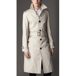 Cream white Leather Long Trench Coat for Men