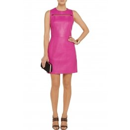 Womens Stylish Pink Leather Dress