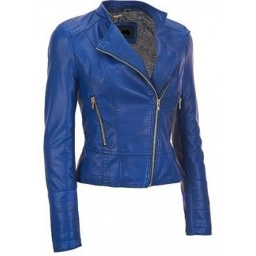 Best Blue Girls Leather Motorcycle Jacket for Sale