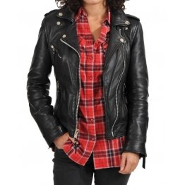 Classic Ladies Black Leather Motorcycle Jacket