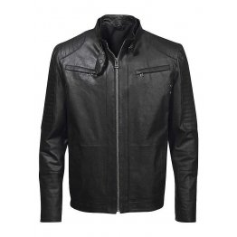 Classic Mens Quilted Black Leather Biker Jacket
