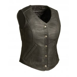 Concealed Weapon Black Leather Motorcycle Biker vest for Women