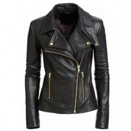 Cool Womens Black Leather Biker Style Jacket