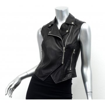 Female Black Leather Sleeveless Moto Biker Vest