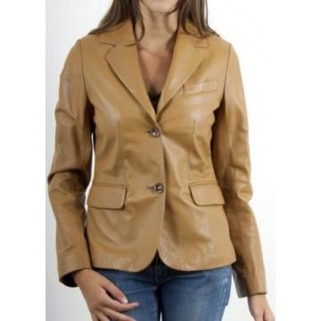 Beige Genuine Leather Sport Coat Blazer for Women