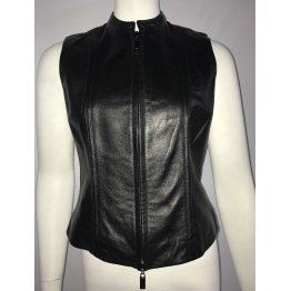Ladies Best Zippered Black Leather Motorcycle Vest