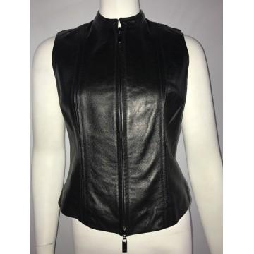 Ladies Best Zippered Black Leather Motorcycle Vest