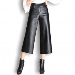 Ladies High Waist Wide Leg Loose Capris Trousers Black Leather Pant