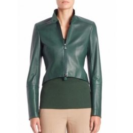 Long Sleeves Real Womens Designer Green Leather Jacket