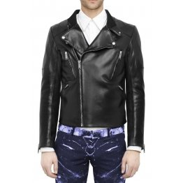 Men's Regular Fitted Black Leather Motorcycle Jacket