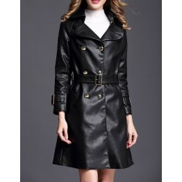 New Belted Double Breasted Black Leather Trench Coat for Women