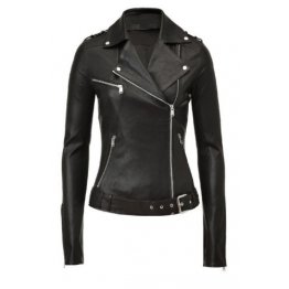 Real Iconic Womens Black Leather Moto Jacket Sale