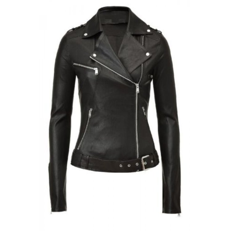 Real Iconic Womens Black Leather Moto Jacket Sale 7b9ab23d6beb