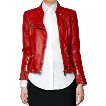 Real Red Leather Motorbike Jacket for Women