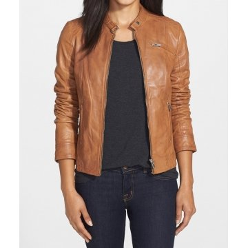 Real Womens Designer Brown Leather Jacket