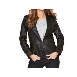 Womens Pure Lambskin Black Leather Blazer