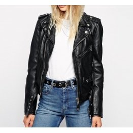 Soft Designer Black Leather Womens Motorcycle Jacket