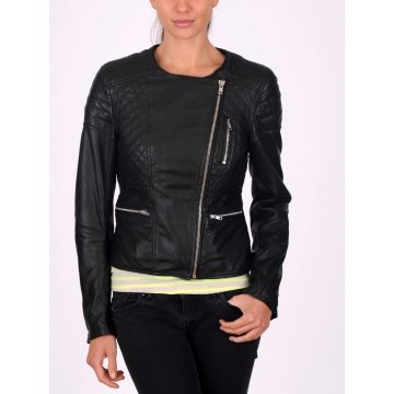 Stylish Affordable Black Leather Quilted Jacket for Womens