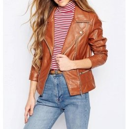 Stylish Womens Genuine Lambskin Brown Leather Motorcycle Jacket