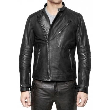 Vintage Black Leather Motorbike Jacket for Men