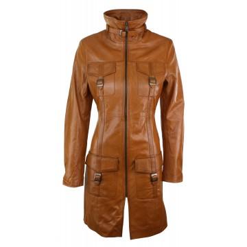 Vintage Tan Brown Real Leather Coat for Ladies