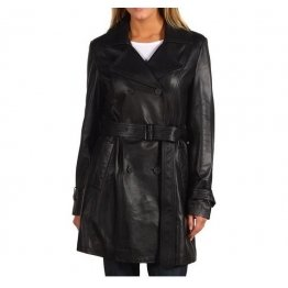 Women Soft Lambskin Black Leather Trench Coat