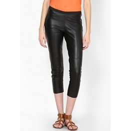 Womens Classic Black Leather Capri Pant