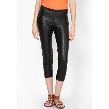 Womens Classic Black Leather Capri Pant