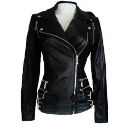 Womens Custom Black Leather outerwear Riding Jacket