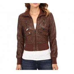 Womens Cropped Brown Leather Bomber Jacket