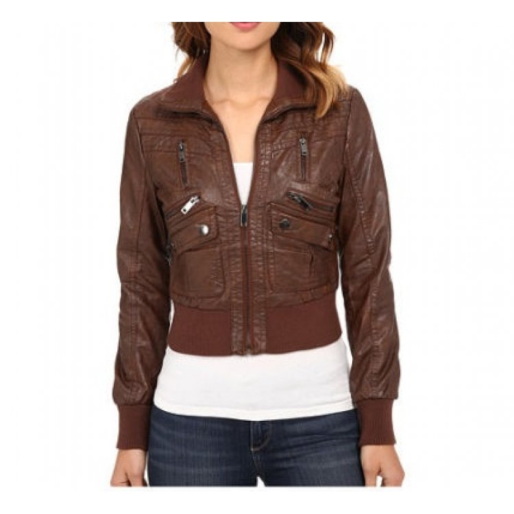 cf01b0dc5 Womens Cropped Brown Leather Bomber Jacket