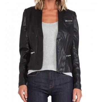 Womens Genuine Soft Lambskin Black Leather Slim Fit Blazer