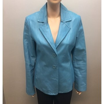 Womens Light Blue Blazer Style Leather Jacket