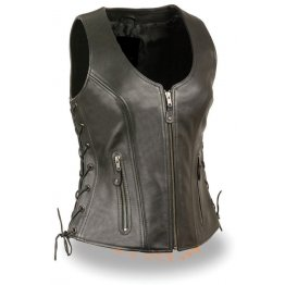 Womens Open Neck Sidelace Black Motorcycle Leather Vest