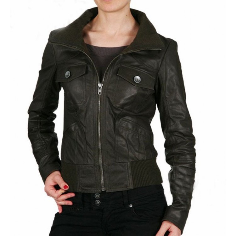 Womens Real Black Leather Bomber Jacket