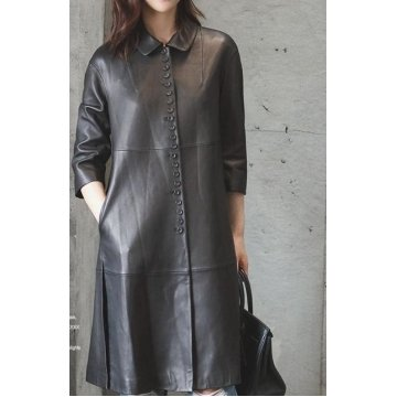 Womens Real Lambskin Black Leather Long Trench Overcoat