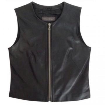 Womens Retro Chic Zip Front Black Leather Biker Vest