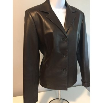 Womens Vintage Button Front Black Leather Jacket Blazer