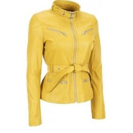Womens Western Lambskin Yellow Leather Bomber Biker Jacket