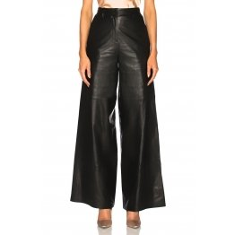 Ankle Length Wide Leg High Waisted Leather Trousers Pants for Women